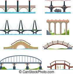 Bridges flat. Architectural urban objects bridge with column or aqueduct beam vector pictures