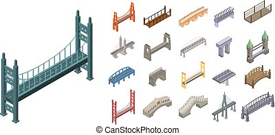 Bridges icons set, isometric style