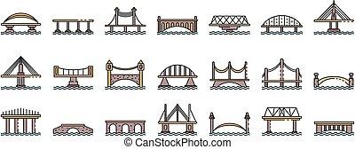 Bridges icons set line color vector