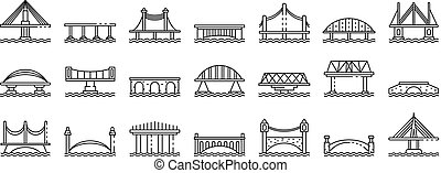 Bridges icons set, outline style