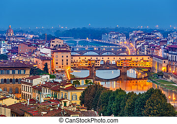 Bridges in Florence at night, Italy