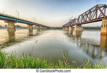Bridges in Prince Albert - The Diefenbaker Bridge and old...