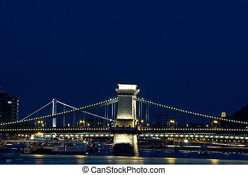 Bridges of Budapest by night