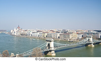 bridges of Danube and the Hungary Parliament