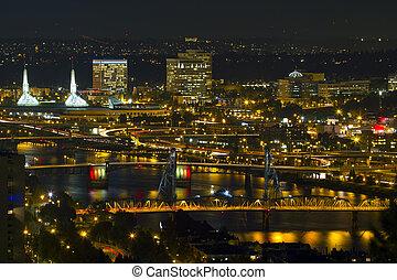 Bridges of Portland at Night - Bridges of Portland Oregon...