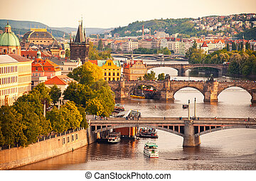 Bridges of Prague - Beautiful view to Vltava and bridges in...