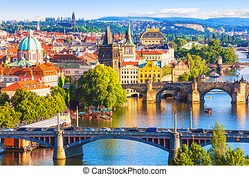Bridges of Prague, Czech Republic - Scenic summer aerial...