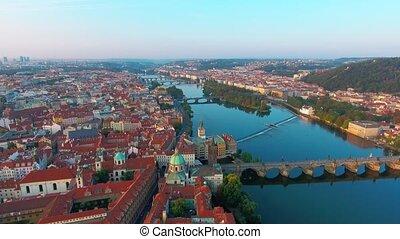 Bridges of Prague including the famous Charles Bridge over...
