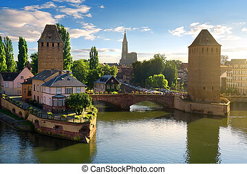 Covered bridge Pont Couverts in Strasbourgh in the district Petite France, Alsace
