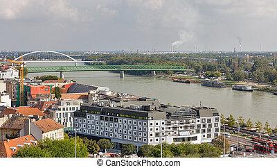 Bridges over Danube river in Bratislava, Slovakia.