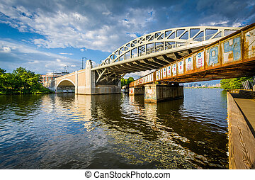 Bridges over the Charles River, at Boston University, in Boston, Massachusetts.