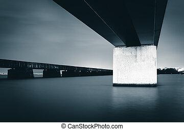 Bridges over the Potomac River at night, in Washington, DC.