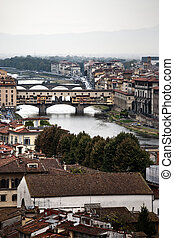 Bridges over the River Arno - View of the bridges over the ...