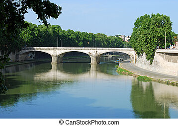 Bridges over the Tiber river in Rome - Italy