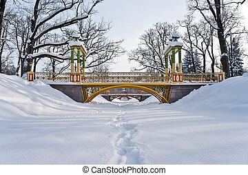 Bridges over winter river