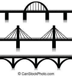 Bridges set - Illustration of silhouette of bridges as a...