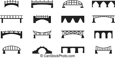Bridges vector icons set