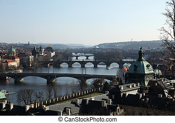 Bridges Vltava river Prague