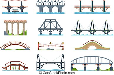 Bridges. Wooden iron aqueduc with column modern architectural objects vector bridge in flat style