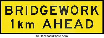 Bridgework 1 km Ahead In Australia - An Australian temporary...