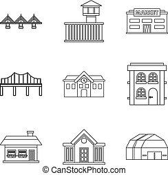 Bridgework icons set, outline style - Bridgework icons set....