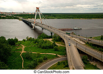 bridgework - bridge connecting the two parts of the city....