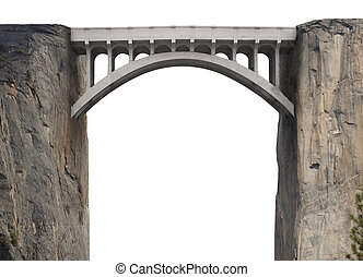 Bridge spanning two vertical cliffs on a white background