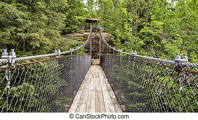 Bridging The Gap - Swing bridge crosses over a ravine....