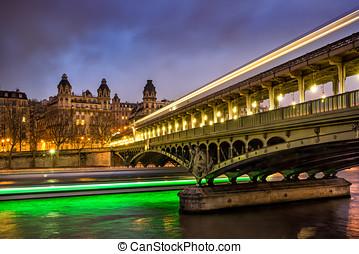 bridzs, bir-hakeim, húzóháló, párizs, franciaország, félhomály, folyó