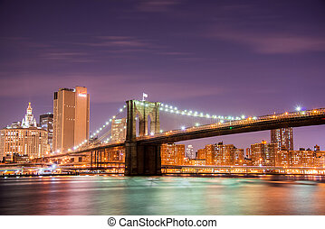 bridzs, brooklyn, york, új, éjszaka
