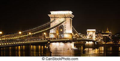 Bridzs,  Budapest,  nighttime, Megvilágít, Lánc
