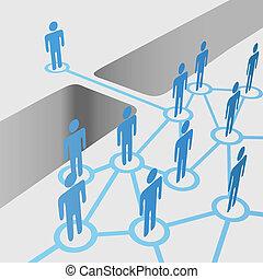 bridzs, csatlakozik, hálózat, emberek, fúzió, hézag, összekapcsol, befog