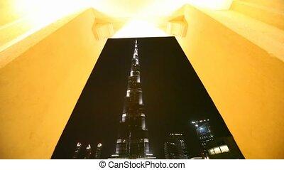 bridzs, dubai, khalifa, éjszaka, tó, burj, felhőkarcoló,...