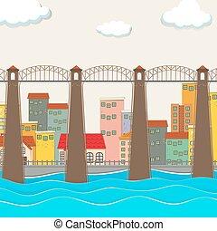 bridzs, felett, a, folyó, és, város