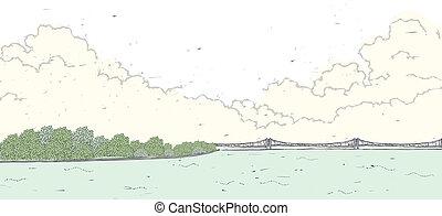 bridzs, felett, tenger