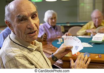 bridzs, idősebb ember, felnőttek, játék