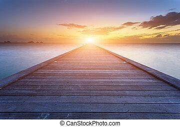 bridzs, koh, erdő, napnyugta, tenger, thaiföld, tengerpart, ...