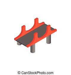 bridzs, noha, piros, oszlop, ikon, alatt, isometric, 3, mód