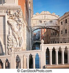 bridzs of sóhaj, alatt, velence, -, olaszország