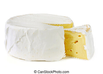 A wheel of rich creamy brie cheese, with a wedge cut out. Isolated on white.