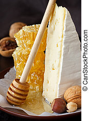 Delicious cheese, nuts and honeycombs on a ceramic plate.