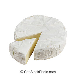 Brie Cheese Cheese Wheel Isolated On White