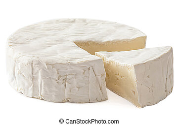 Brie cheese. Mold Cheese isolated on a white background. Food concept, close up. Side view