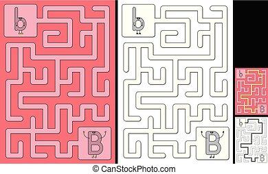 brief, -, alfabet, b, doolhof, gemakkelijk