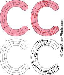 brief, -, alfabet, doolhof, gemakkelijk, c
