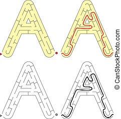 brief, -, alfabet, doolhof, gemakkelijk