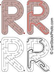 brief, -, alfabet, doolhof, gemakkelijk, r