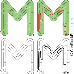 brief, -, alfabet, doolhof, m, gemakkelijk