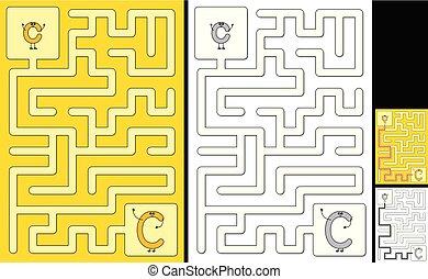 brief, -, alphabet, labyrinth, leicht, c