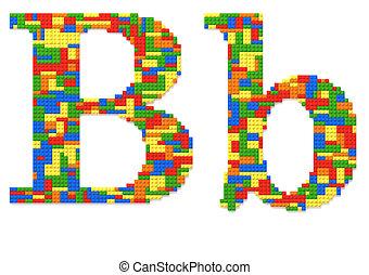 brief b, gebouwde, van, de bakstenen van het stuk speelgoed, in, willekeurig, toevallig, kleuren